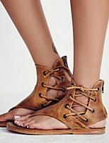 cheap -Women's Sandals Flat Sandal Summer Flat Heel Open Toe Daily Pigskin Black / Yellow / Brown