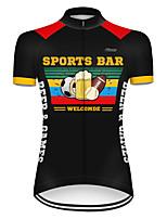 Недорогие -21Grams Жен. С короткими рукавами Велокофты Полиэстер Черный / желтый Смешной Пиво Октоберфест Велоспорт Джерси Верхняя часть Горные велосипеды Шоссейные велосипеды / Слабоэластичная / Дышащий