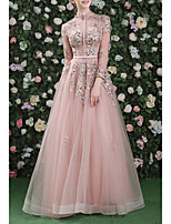 cheap -A-Line Cut Out Floral Prom Formal Evening Dress High Neck Long Sleeve Floor Length Organza with Embroidery 2020