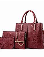 cheap -Women's PU Bag Set Bag Sets Lattice 3 Pcs Purse Set Light Coffee / Black / Red / Fall & Winter