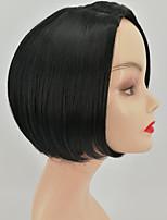 cheap -Synthetic Wig kinky Straight Asymmetrical Wig Short Natural Black Synthetic Hair 12 inch Women's Simple Fashionable Design Women Black