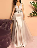 cheap -Mermaid / Trumpet Floral Sexy Engagement Formal Evening Dress V Neck Sleeveless Sweep / Brush Train Stretch Satin with Pleats Appliques 2020