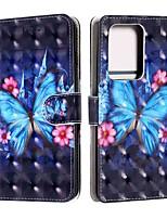 Недорогие -чехол для samsung galaxy s20 / s20 plus / s20 ультра кошелек / визитница / с подставкой синяя бабочка искусственная кожа / тпу для галактики a51 / a71 / a41 / a21 / a11 / a01 / a50 (2019) / a30s