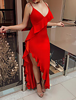 cheap -Sheath / Column Sexy Red Engagement Formal Evening Dress V Neck Sleeveless Asymmetrical Chiffon with Ruffles 2020