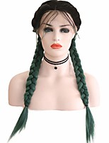 cheap -Synthetic Lace Front Wig Box Braids Middle Part with Baby Hair Lace Front Wig Ombre Long Ombre Green Synthetic Hair 18-26 inch Women's Soft Adjustable Party Green Ombre