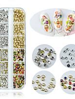 Недорогие -1 коробка мульти размер стекла стразы для ногтей смешанные цвета кристалл strass 3d очарование драгоценных камней сделай сам маникюр украшения искусства ногтя