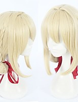 cheap -Cosplay Wig Violet Evergarden Straight With Bangs Wig Long Light Blonde Synthetic Hair 18 inch Women's Anime Cosplay Blonde