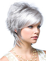 cheap -Synthetic Wig Natural Straight Asymmetrical Wig Short Silver grey Synthetic Hair 6 inch Women's New Design Easy dressing Cool Dark Gray