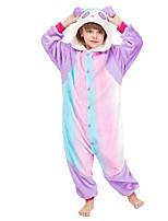 cheap -Kid's Elementary Kigurumi Pajamas Panda Onesie Pajamas Flannel polyester fibre Purple Cosplay For Boys and Girls Animal Sleepwear Cartoon Festival / Holiday Costumes / Leotard / Onesie