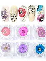 Недорогие -6 цветов микс сухих цветов, украшения для ногтей, украшения, натуральные цветочные наклейки, 3d дизайн ногтей, аксессуары для маникюра.