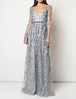cheap -A-Line Sexy Grey Engagement Prom Dress V Neck Long Sleeve Floor Length Lace with Lace Insert Appliques 2020