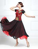 cheap -Ballroom Dance Dress Pattern / Print Split Joint Women's Training Performance Short Sleeve Chiffon