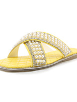 cheap -Women's Slippers & Flip-Flops Spring & Summer Flat Heel Open Toe Casual Minimalism Party & Evening Beach Imitation Pearl Solid Colored PU White / Black / Yellow