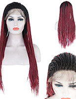 cheap -Synthetic Lace Front Wig Box Braids Braid Lace Front Wig Ombre Long Red Synthetic Hair 1824 inch Women's Life Soft Adjustable Red Ombre