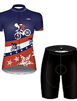 cheap -21Grams Women's Short Sleeve Cycling Jersey with Shorts Polyester Black / Blue American / USA National Flag Bike Clothing Suit Breathable Quick Dry Ultraviolet Resistant Reflective Strips / Stretchy