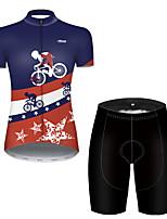 Недорогие -21Grams Жен. С короткими рукавами Велокофты и велошорты Полиэстер Черный / синий Американский / США Флаги Велоспорт Наборы одежды / Эластичная / Дышащий / Горные велосипеды / Шоссейные велосипеды