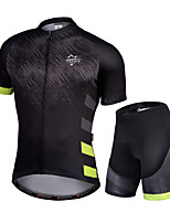 cheap -Nuckily Men's Short Sleeve Cycling Jersey with Shorts Black / Green Gradient Bike Quick Dry Sports Gradient Road Bike Cycling Clothing Apparel
