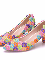 cheap -Women's Heels Fall & Winter Cuban Heel Pointed Toe Sweet Minimalism Wedding Party & Evening Satin Flower PU Rainbow