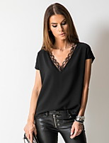 cheap -Women's Solid Colored Loose T-shirt Daily V Neck White / Black