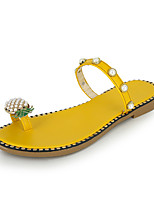 cheap -Women's Slippers & Flip-Flops 2020 Spring &  Fall / Spring & Summer Flat Heel Open Toe Sweet Preppy Daily Outdoor Imitation Pearl PU Yellow / Green / Black
