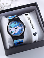 cheap -Unisex Quartz Watches New Arrival Fashion Blue Red Green Rubber Chinese Quartz Blue Purple Red Cute Creative Casual Watch 2 Piece Analog One Year Battery Life