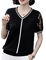 cheap -Women's Solid Colored T-shirt Daily V Neck Black