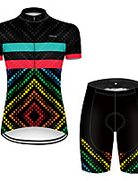 cheap -21Grams Women's Short Sleeve Cycling Jersey with Shorts Polyester Black / Red Polka Dot Gradient Bike Clothing Suit Breathable Quick Dry Ultraviolet Resistant Reflective Strips Sweat-wicking Sports