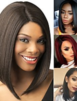 cheap -Synthetic Wig kinky Straight Bob Wig Short Light Brown Blonde Dark Brown / Light Brown Black Burgundy Synthetic Hair 14 inch Women's Classic Easy dressing Best Quality Burgundy Brown