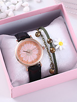 cheap -Women's Quartz Watches Flower New Arrival Black Chocolate PU Leather Chinese Quartz Black Brown Chronograph Cute Creative 2 Piece Analog One Year Battery Life