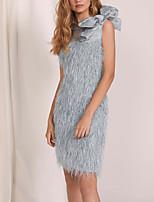 cheap -Sheath / Column Flapper Elegant Homecoming Wedding Guest Dress Jewel Neck Sleeveless Short / Mini Lace with Bow(s) 2020