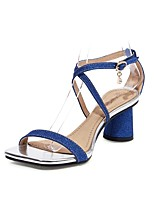 cheap -Women's Sandals 2020 Summer Cuban Heel Open Toe Preppy Minimalism Daily Party & Evening Buckle Solid Colored PU Black / Red / Blue