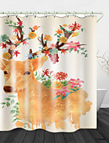 cheap -Painted Sika Deer Digital Print Waterproof Fabric Shower Curtain for Bathroom Home Decor Covered Bathtub Curtains Liner Includes with Hooks