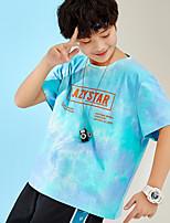 Недорогие -Дети Мальчики Классический Узоры тай-дай С короткими рукавами Футболка Синий