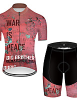 cheap -21Grams Men's Short Sleeve Cycling Jersey with Shorts Nylon Polyester Pink Patchwork Peace & Love Bike Clothing Suit Breathable 3D Pad Quick Dry Ultraviolet Resistant Reflective Strips Sports