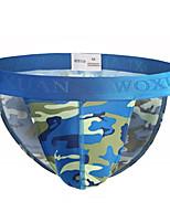 cheap -Men's Print / Basic Briefs Underwear - Normal Low Waist Blue Yellow Green S M L