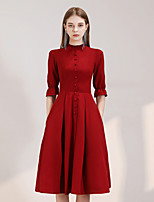cheap -Back To School A-Line Reformation Amante Minimalist Homecoming Cocktail Party Dress High Neck Half Sleeve Knee Length Spandex with Sleek Buttons 2020 Hoco Dress
