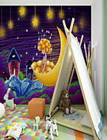 cheap -Art Deco  Landscape Home Decoration Modern Wall Covering   Custom Self-adhesive Mural Wallpaper Moon Baby Children Cartoon Style Suitable For Bedroom