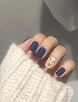 cheap -24pcs Plastics Matte Creative False Nails Blue Elk fake nail pieceArtificial Nail Tips Fake Nails