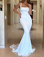 cheap -Mermaid / Trumpet Elegant Minimalist Engagement Formal Evening Dress Scoop Neck Sleeveless Sweep / Brush Train Spandex with Sleek 2020