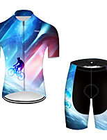 cheap -21Grams Men's Short Sleeve Cycling Jersey with Shorts Nylon Polyester Black / Blue 3D Patchwork Gradient Bike Clothing Suit Breathable 3D Pad Quick Dry Ultraviolet Resistant Reflective Strips Sports