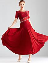 cheap -Ballroom Dance Dress Split Joint Crystals / Rhinestones Women's Performance Short Sleeve Crystal Cotton Mesh