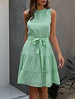 cheap -Women's A-Line Dress Knee Length Dress - Sleeveless Solid Color Summer Work 2020 White Dusty Blue Light Green S M L XL XXL