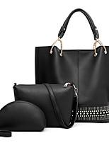 cheap -Women's Zipper PU Bag Set Bag Sets Solid Color White / Black / Red