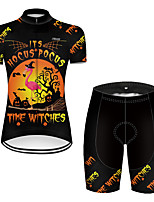 cheap -21Grams Women's Short Sleeve Cycling Jersey with Shorts Nylon Polyester Black / Orange Flamingo Gradient Animal Bike Clothing Suit Breathable 3D Pad Quick Dry Ultraviolet Resistant Reflective Strips
