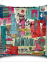 cheap -Cartoon City Landscape Pillowcase Digital Printing Metropolitan Cushion Cover Linen