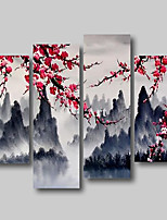 cheap -Oil Painting Hand Painted - Abstract Abstract Landscape Comtemporary Modern Stretched Canvas Pink Blossom