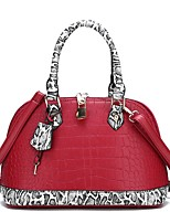cheap -Women's Zipper / Chain PU Top Handle Bag Leather Bags Snakeskin Black / Red
