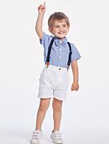 cheap -Kids Toddler Boys' Basic Color Block Solid Colored Short Sleeve Clothing Set Light Blue