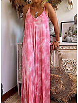 cheap -Women's Strap Dress Maxi long Dress - Sleeveless Solid Color Summer Casual Sexy 2020 Blushing Pink S M L XL