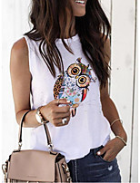 cheap -Women's Tank Top Animal Tops Round Neck Loose Daily Summer White S M L XL 2XL 3XL